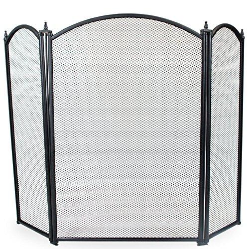 Simpa® oakley 3pannello pieghevole per camino fire place guard fire screen spark parafiamma curved top design pieghevole a 3pannelli, nero