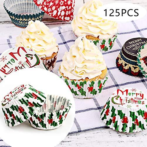 Kungfu Mall Cupcake-Förmchen für Weihnachten, Blätter, Muffins, Cupcake-Förmchen, 125 Stück