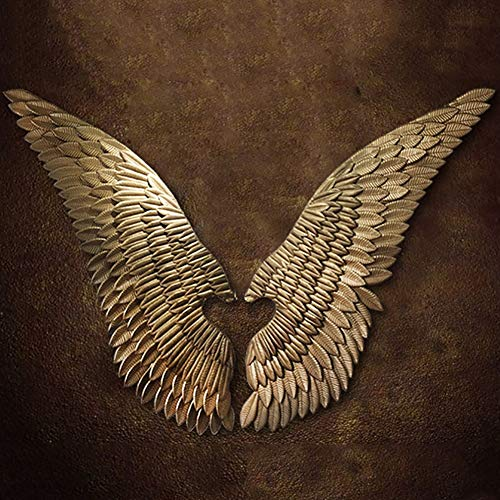 PoJu Golden Wing Sculpture Wall decoration, a pair of angel wings Vintage Loft Wrought Iron Garden Bar coffee Christmas Wall Hangings sculptures (Size: Small)