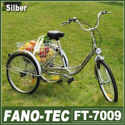 """RMAN Dreirad Für Erwachsene Erwachsenendreirad Fahrrad Mit 3 Rädern Seniorenrad Lastenfahrrad 24\"""" Shimano 6-Gang-Schaltung,Silber"""