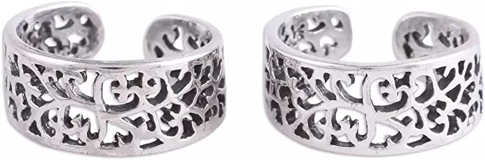 Silvertree925 Fashionable Floral Toe Rings in Pure Sterling Silver for Girls & Women(ST727)