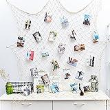 Foto hängende Anzeige Fischernetz Bilderrahmen Wanddekoration Collage Fotorahmen Holzbilderrahmen mit 40 kleinen Wäscheklammern(Größe des Netzes: 200x100cm)