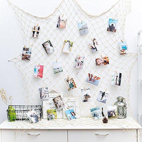 Foto hängende Anzeige Fischernetz Bilderrahmen Wanddekoration Collage Fotorahmen Holzbilderrahmen mit 40 kleinen Wäscheklammern(Größe des Netzes: 200x100cm) Digitale Bild-anzeige