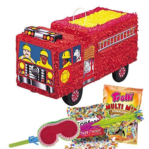 PartyMarty GmbH® Pinata-Set: Pinata Feuerwehr, Schläger + Maske + Konfetti aus Papier bunt, 50g, GmbH® für den Kindergeburtstag, Valentinstag, Geburtstag, Hochzeitsspiel, Trolli (Für Feuerwehr-maske Kinder)