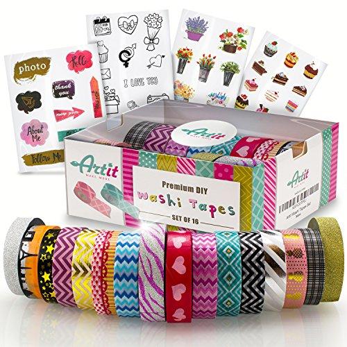 ARTIT Washi Tape Set Cintas Decorativas Adhesivas 16 Pegajosas Masking Deco Rollos 10M DIY Scrapbooking Manualidades Libros de Recortes Bricolaje Envoltorio de Regalo Decoración 4 Paginas de Sticker