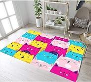 ZTBXQ Multi-Colored Lovely Cats Kids Play Rug Room Living Room Area Rugs Bedroom Floor Carpet Door Non-Slip Mat Rug,1,120cmx