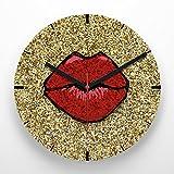 Reloj de pared 30 cm con ilustración labio rojo con fondo efecto purpurina dorada