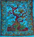 Blue Tree Double Size Cotton Bedspread / Throw Or Wall Hanging