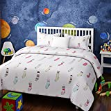 Urban Dream Kids Animal In Socks Print White And Blue BEDSHEET Set (Double Bed)