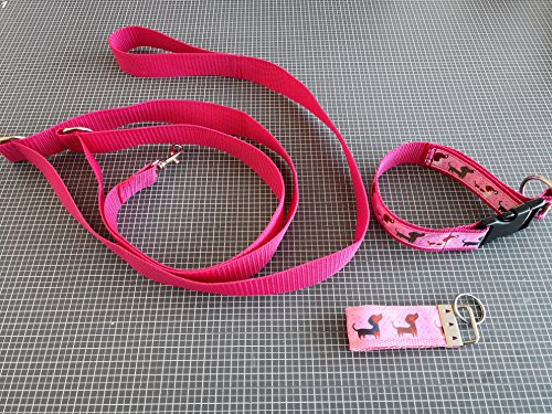 Dackel-Mädchen - Halsband 30 cm HU, Leine 2 m + Schlüsselanhänger Pink-Rosa
