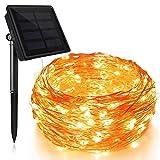 Solar kupfer lichterkette Led kupferdraht solar 200LEDs 8 Modes wasserdicht außen lichterkette 20M+2M - Große Sonnenkollektoren Warmweiß