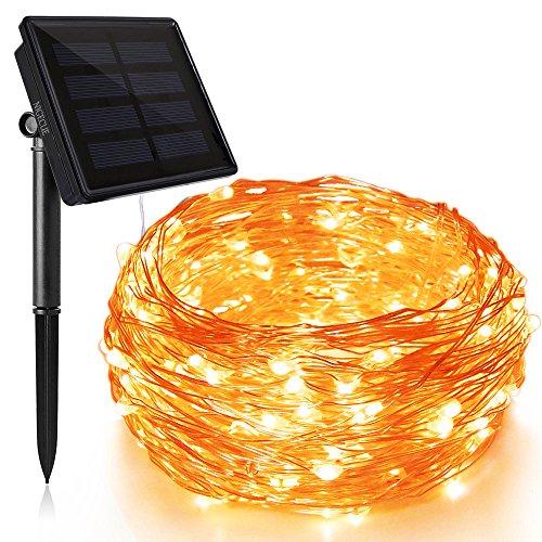 Solar kupfer lichterkette Led kupferdraht solar 200LEDs 8 Modes wasserdicht außen lichterkette 20M+2M -- Große Sonnenkollektoren Warmweiß
