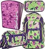 satch pack Ivy Blossom 4er Set Rucksack, Sporttasche, Schlamperbox & Heftebox Lila