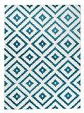 Orientalisches Marokkanisches Teppich - Dichter und Dicker Flor Modern Designer Muster - Ideal Für Ihre Wohnzimmer Schlafzimmer Esszimmer - Weiß Blau - 160 x 220 cm Casablanca Kollektion von Carpeto