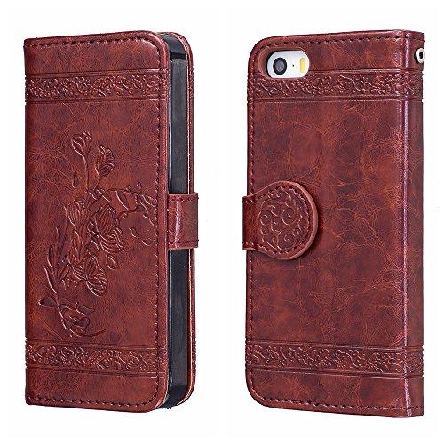 Voguecase Pour Apple iPhone 5 5G 5S SE Coque, Étui en cuir synthétique chic avec fonction support pratique pour iPhone 5S (Modèle en cire d'huile-Rouge marron)de Gratuit stylet l'écran aléatoire unive Modèle en cire d'huile-Rouge marron