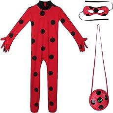 Tiaobug Mädchen Overalls Käfer Kostüm 3er Set - Jumpsuit, Augenmaske, Tasche Cosplay Karneval Fasching Halloween Festzug Kostüme Verkleidung 5-12 Jahre Rot schwarz gepunktet 110-116/5-6 Jahre