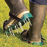 Jardin Mile® Chaussures de jardin Aérateur de gazon manuel Aérateur de gazon avec 13x 5cm Pointes et sangles Sandales ajustement universel Aérateur de gazon