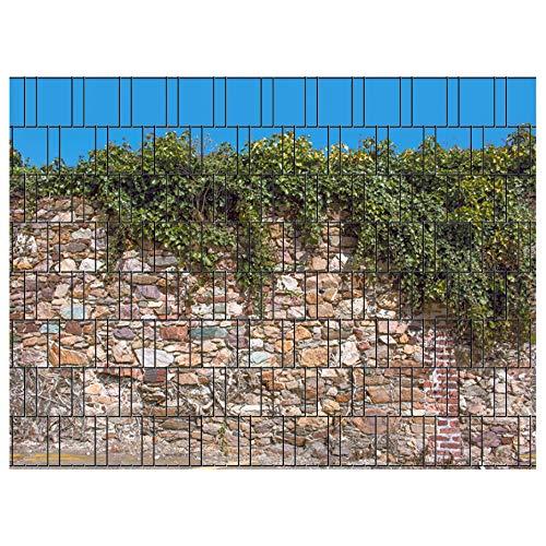 PerfectHD Zaunsichtschutz   30 Motive   Sichtschutzstreifen für Doppelstabmattenzaun   Windschutz Sonnenschutz Blickdicht   2,50m x 1,80m   19cm   9 Streifen   Kreta