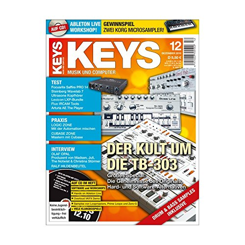 Keys 12 2010 mit CD - Kult um TB-303 - Ableton Live Workshop auf CD - Personal Samples - Free Loops - Audiobeispiele