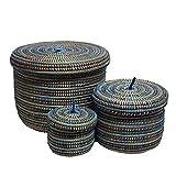 EA Déco Naturel & Design PLBTBLE Pauleu Lot de 3 Boîtes Plastique/Paille Tricolore Bleu 26 x 26 x 26 cm