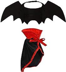 LAWOHO Halloween-Kostüm für Haustiere, Fledermausflügel und Umhang, 2 Stück Hexe, Vampir, Cosplay, Kombination für kleine Katzen und Hunde, lustige Urlaubsdekoration, Kleidung für Halloween, blutige Zombie-Party