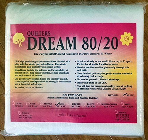 Quilter's Dream 80/20 White Select Loft Batting - Twin Size 93