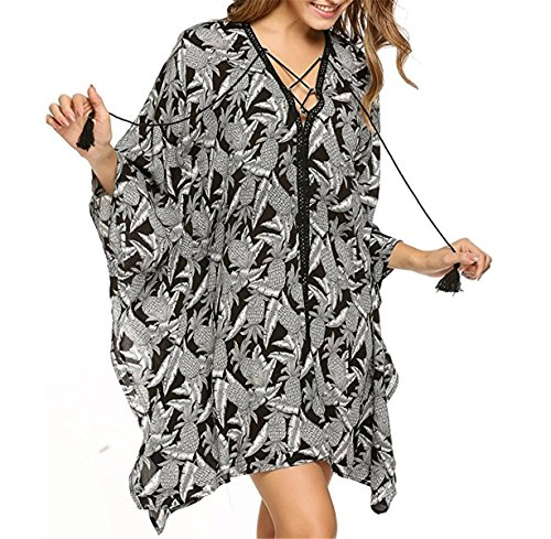 IWFREE Damen Strandponcho Kaftan Poncho Strand Oberteile Tunika Beach Sexy Sommer Bikini Push up Strandkleid V -Ausschnitt Bikini Cover Up Kimono Schwarz