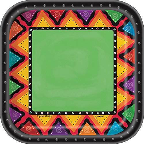 18cm Square Mexican Party Plates, Pack of 10 for sale  Delivered anywhere in UK
