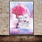 FENGJIAREN Handgemaltes Ölgemälde Moderner Charakter Eindruck Abstrakt Mädchen Rosa Regenschirm Im Regen Wandern Kunst Bild Home Decoration Für Wohnzimmer Wanddekor Malerei, 80 × 130 cm
