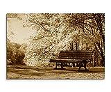 Augenblicke Wandbilder 120x80cm XXL riesige Bilder fertig gerahmt mit Keilrahmenin Sepia Blühende Bäume Bank