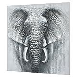 Unbekannt [Art.Work] Original handgemaltes Wandbild mit Elefanten-Motiv auf Leinwand inkl. Keilrahmen