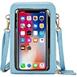 HUKTOR Handy Umhängetasche Damen Touchscreen Tasche Handy Wasserdicht Handtasche Schultertasche Leder Frauen Brieftasche Retr