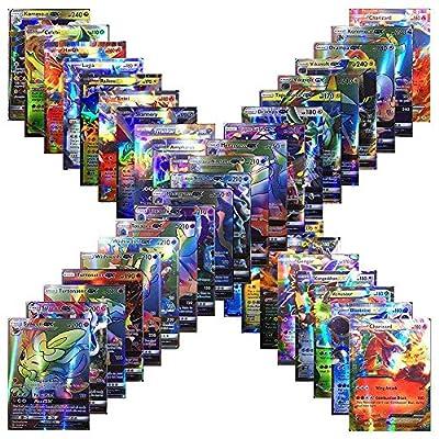 Flyglobal Carte de Pokemon Jeux de Cartes 100 Pcs Pokemon Style Carte de Pokemon Full Art 80 Cartes EX 20 Cartes GX Jeu de Cartes Amusant de Pokemon