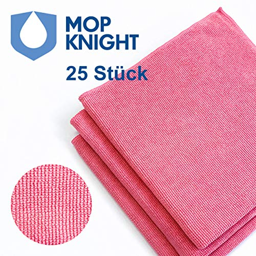 Mop Knight | 25 Stück Premium Mikrofaser-Tücher mit extremer Saugfähigkeit für Haushalt & Küche | Fusselfreie Hochleistungstücher zur Reinigung und Pflege, 40x40cm, rot