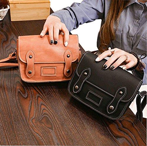 Modakeusu Classic busta in stile portafoglio piccolo telefono cellulare portafoglio borsetta con tracolla per le donne Brown Black