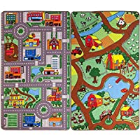 Reversible Road Map Farm Animal Cars Rug Play Mat 100cm x 165cm (3