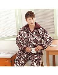 &zhou pijama hombre ocio Rebeca mantenga invierno cálido pijama grueso hogar ropa conjuntos , 2 , xl