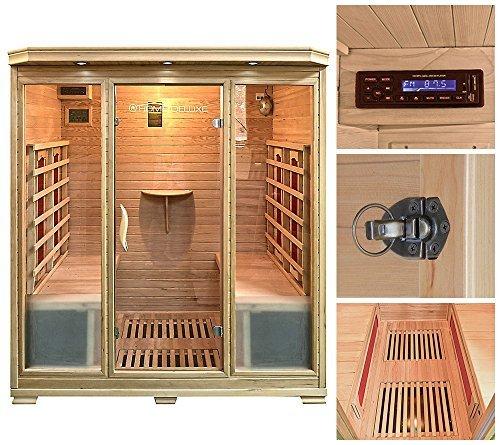 Home Deluxe – Infrarotkabine – Bali XL – Keramikstrahler – Holz: Hemlocktanne - Maße: 175 x...