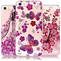 [3-Pack] Vandot iPhone SE Case, iPhone 5S Bling Case - 3 Pcs Glitter Clear Flexible Soft TPU Case Extra Grip Slim Fit Ultra Thin Colorful HD Painting Pattern Non-Slip Scratch Resistant Bumper Protective Case Cover Pack of 3 for iPhone SE 5S 5 - Bride Wedding Dress/ Butterflies/ Plum Flowers