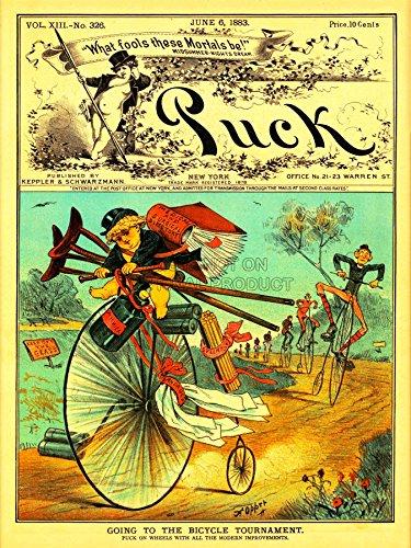 Wee Blue Coo LTD Magazine Puck Satire Penny Farthing Bicycle USA Art Canvas Print Vereinigte Staaten von Amerika (Penny Magazine)