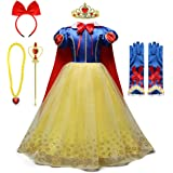 MYRISAM Snow White Princess Dress Up Costume Girls Halloween Carnival Cosplay Dress Christmas Birthday Dress w/Cloak Accessor