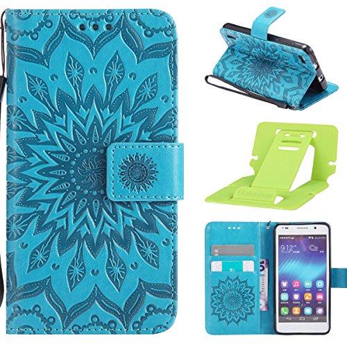 Huawei Honor 6 Hülle,Huawei Honor 6 Hülle Flip Case,Ekakashop Retro Blau Sonnenblume Muster Bookstyle PU Lederhülle Tasche Schutzhülle Schale Weichen Silikon Klapptasche Etui Magnetverschluß mit Standfunktion Kartenfächer Brieftasche Wallet Case und Lanyard für Huawei Honor 6 + 1x Kostenlos Ständer (Farbe zufällig)