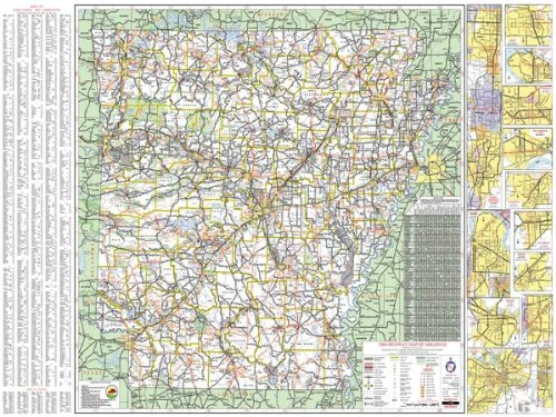 Arkansas State Offizielle Wandkarte, laminiert, 48 x 66 cm -