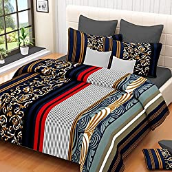 VCS 100% Cotton Navy Blue With White & Red Pigment Printed Double Bedsheet With 2 Pillow Cover - Standard Size