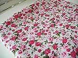 Lottashaus Polycotton Stoff 1 meter Weiß Pink Englische