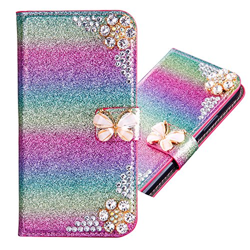 iPhone 5S Leather Case,iPhone SE Flip Wallet Case,iPhone 5S Cover,Cool 3D Rose Butterfly Bling Glitter Diamond Pattern Leather Stand Function Flip Kickstand Magnetic Book Wallet with Card Slot Holder Protective Cover Case for iPhone SE/5S/5