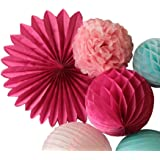 SUNBEAUTY 7er Set Rosa Pink Blau Kombination Feier Dekoration