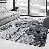Tapis à poils courts au design moderne, noir et gris chiné, pour aménagement intérieur, 5 tailles, Polypropylène, 160 x 230 cm