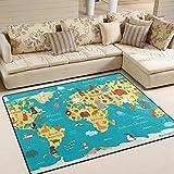 JSTEL INGBAGS Modern Weich mit Weltkarte Teppiche Wohnzimmer Teppich Teppich für die Kinder, mit Fester Schlafzimmer Home Decorator Teppich Boden Matte Teppiche 63x 48cm, Multi, 80 x 58 Inch