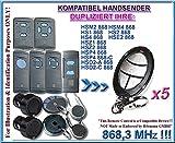 5 X 868.3Mhz Kompatibel mit HS1, HS2, HS4, HSE2, HSM2, HSM4, FIT2, HSD, HSZ , HSD2-C 868,3MHz Handsender, Ersatz, Klone,TOP Qualität clone remote, ( NOT MADE BY HÖRMANN )